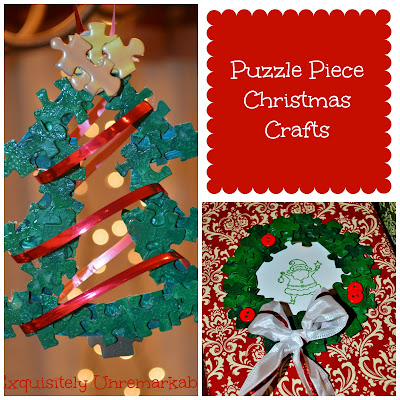Puzzle Piece Christmas Crafts collage