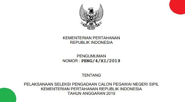 Formasi CPNS Kemenhan Tahun 2019