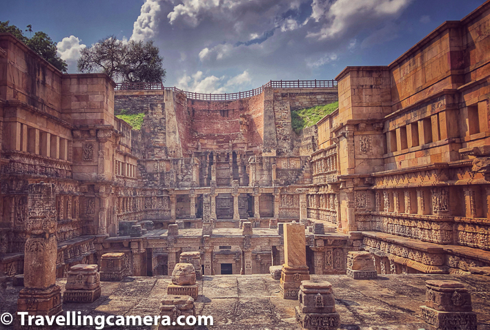 As you go down, the depth of the stepwell increases but the grandeur keeps on surprising you after each step you take downwards. Above photograph is probably clicked from 4th level of stepwell from top and here you see only the top parts of different levels in layered manner. the extreme end of the photograph shows top of the core level (7th level of Rani ki Vav). This section is closed so you can't explore that well. It's mainly for restoration and ensuring that it's preserved well. Hope that ASI figure out a way to open this section for visitors in a way that things don't get damaged in that process.