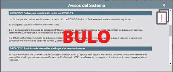 Bulos sobre las acciones del Covid-19 en el comienzo del curso escolar