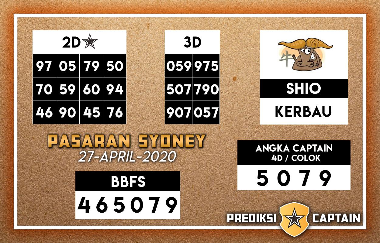 Prediksi Togel Sidney 27 April 2020 - Prediksi Captain