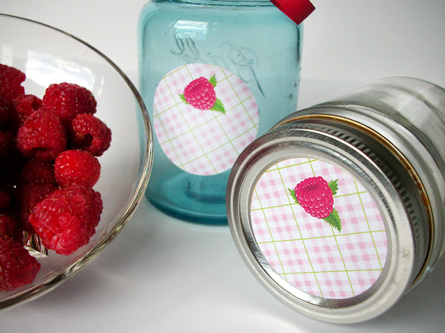 Plaid Red Raspberry canning jar labels
