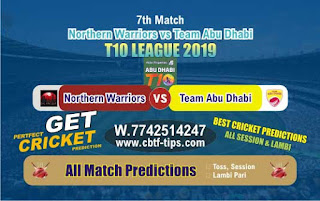 Who will win Today T10 2019, 7th Match Abu Dhabi vs Warriors 7th, 100% Sure Prediction