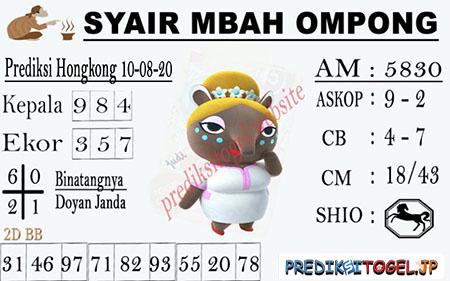 Syair Mbah Ompong HK Senin 10 Agustus 2020