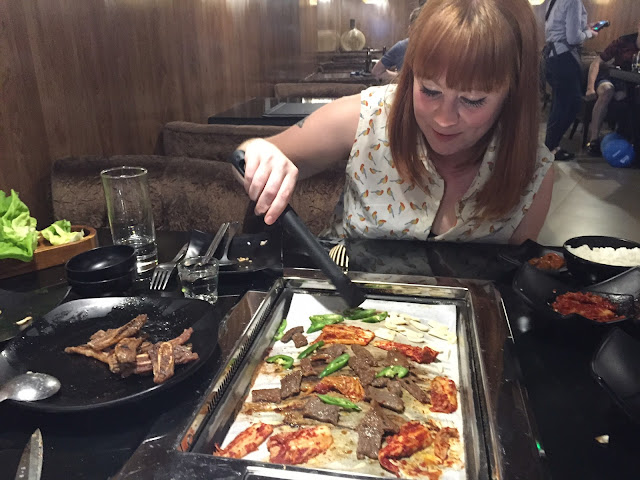 Cooking at table with Korean BBQ