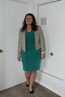 an outfit with a green dress, a striped blazer, and black wedges