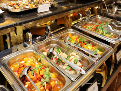 Khay inox đưng topping thức ăn