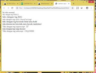 melakukan perubahan bentuk teks pada laman html dengan menggunakan beberapa bentuk format teks