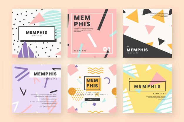 Cute design website template Free Vector