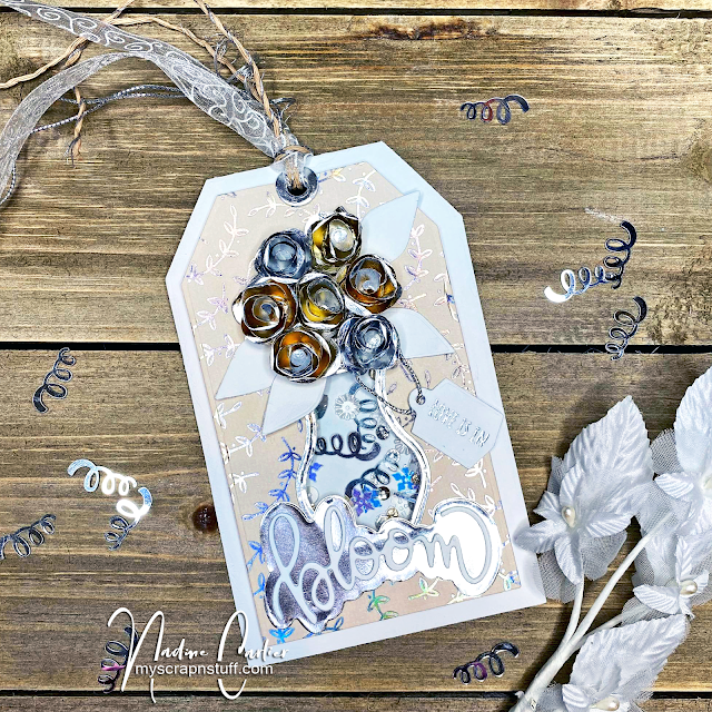 Wedding Tag Shaker Card Using Rinea Foiled Paper by Nadine Carlier