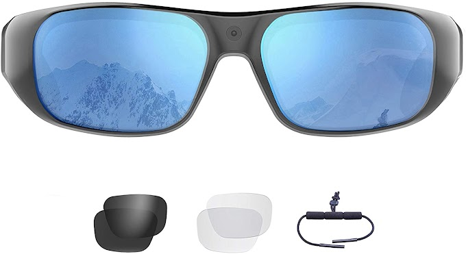 Waterproof Video Sunglasses | 64GB Ultra 1080P HD Outdoor Sports Action Camera and 4 Sets Polarized UV400 Protection Safety Lenses | Unisex Sport Design