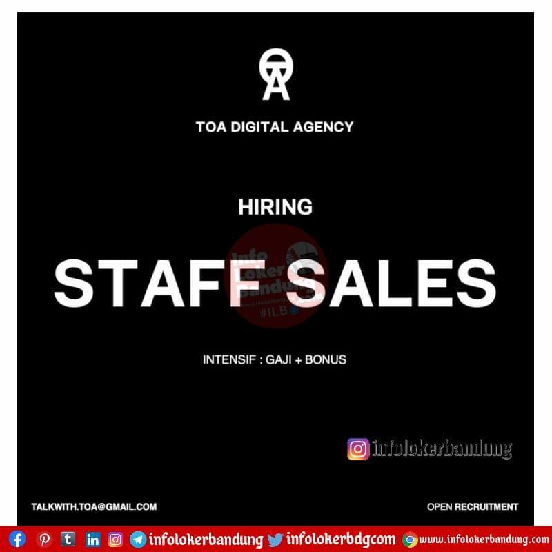 Lowongan Kerja Staff Sales TOA Digital Agency Bandung April 2021