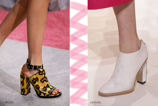 Block heel on shoes was seen by most designers