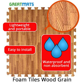 Greatmats wood grain foam tiles infographic