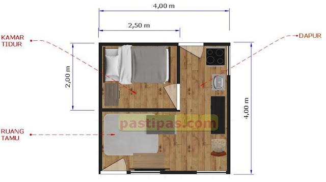 Denah rumah ukuran 4x4 m - Beserta Biaya nya