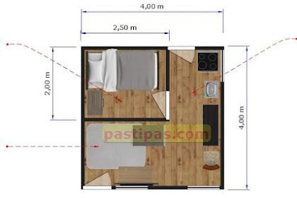 Denah rumah ukuran 4x4 m Beserta Biayanya
