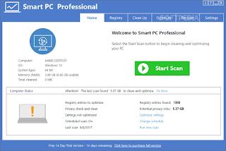 تحميل برنامج قوي  لتنظيف النظام وتحسين الأداء. Smart PC Professional 6.2