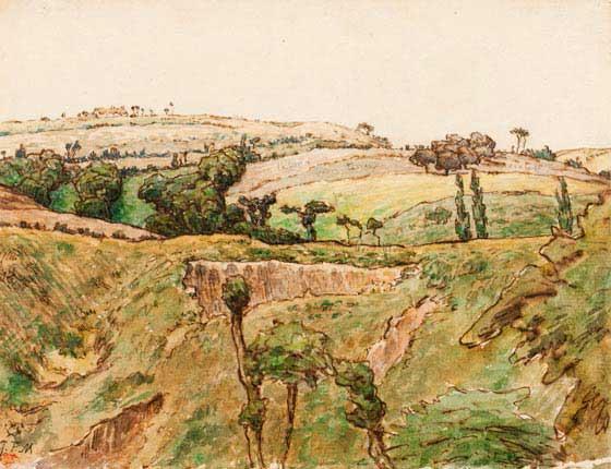 Жан Франсуа Милле - Холмистый пейзаж. 1867