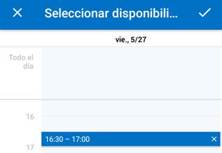 Correo Outlook movil: enviar disponibilidad de horario por mail