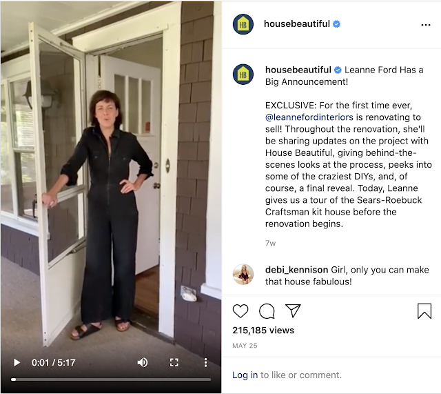 color image of Leanne Ford presenting her Craftsman bungalow on the House Beautiful Instagram page
