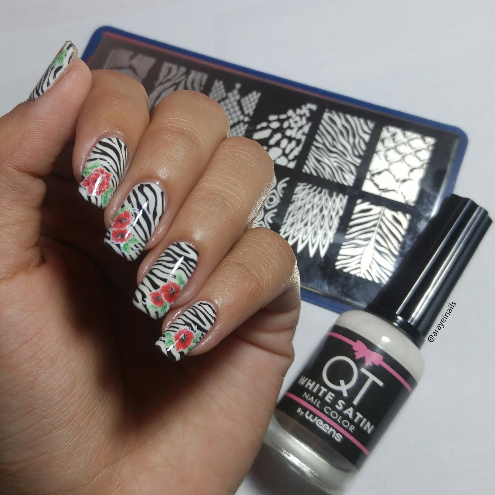 Wonderful Journey Of My Nails: Zebra Nails with a Twist of Floral ...