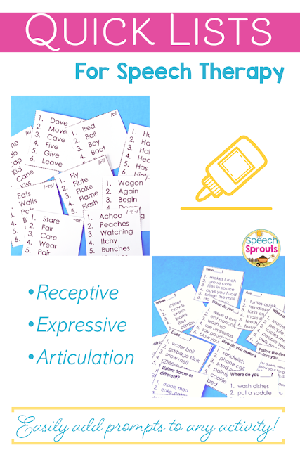 Pop one of these handy speech and language lists on any activity to instantly add receptive language, expressive language or articulation prompts for each student. Makes progress monitoring and data collection super simple too. #speechsprouts #speechtherapy