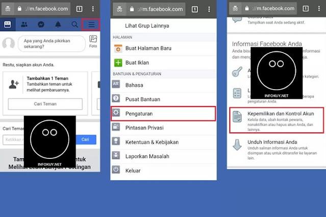 Cara Menghapus Akun Facebook Permanen Melalui Browser HP #1