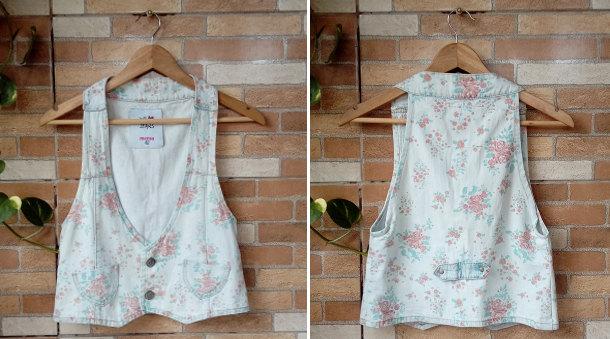 Colete Floral Jeans Minha Lojinha no Enjoei