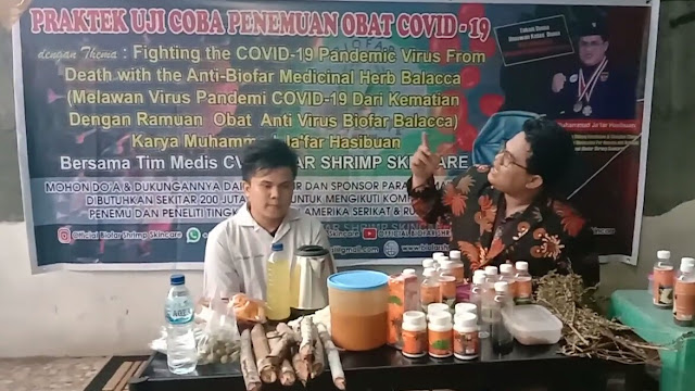 Melawan Virus Pandemi COVID-19  Dengan Ramuan  Obat  Anti Virus Biofar Balacca Karya Muhammad Ja'far Hasibuan Bersama Tim Medis