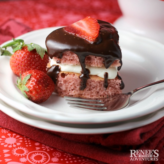 Mini Chocolate Covered Strawberry Heart Cakes