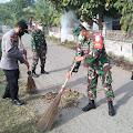 Koramil 24/Mutiara Timur Bersama Muspika Bersihkan Lingkungan Desa Tiba Mesjid