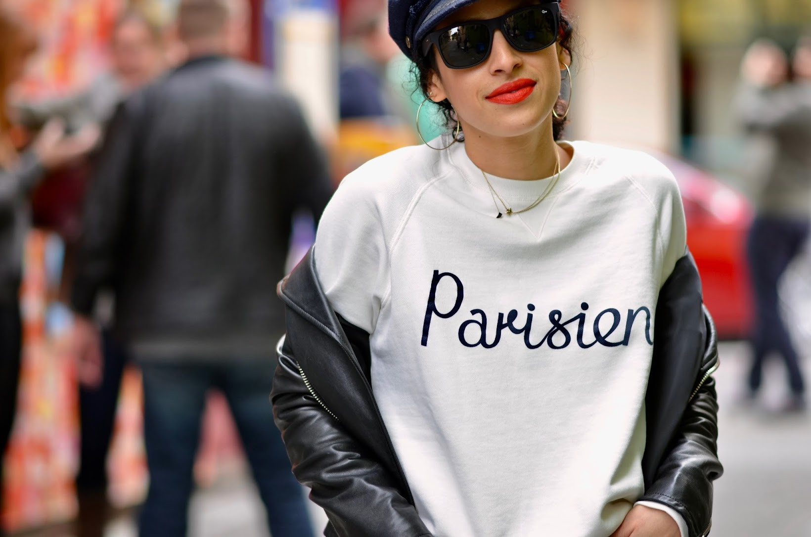 le parisien sweatshirt, maison kitsuné, farfetch, european brand, cool chick style, cool girl style, baker boy hat, orange lipstick, san francisco street style