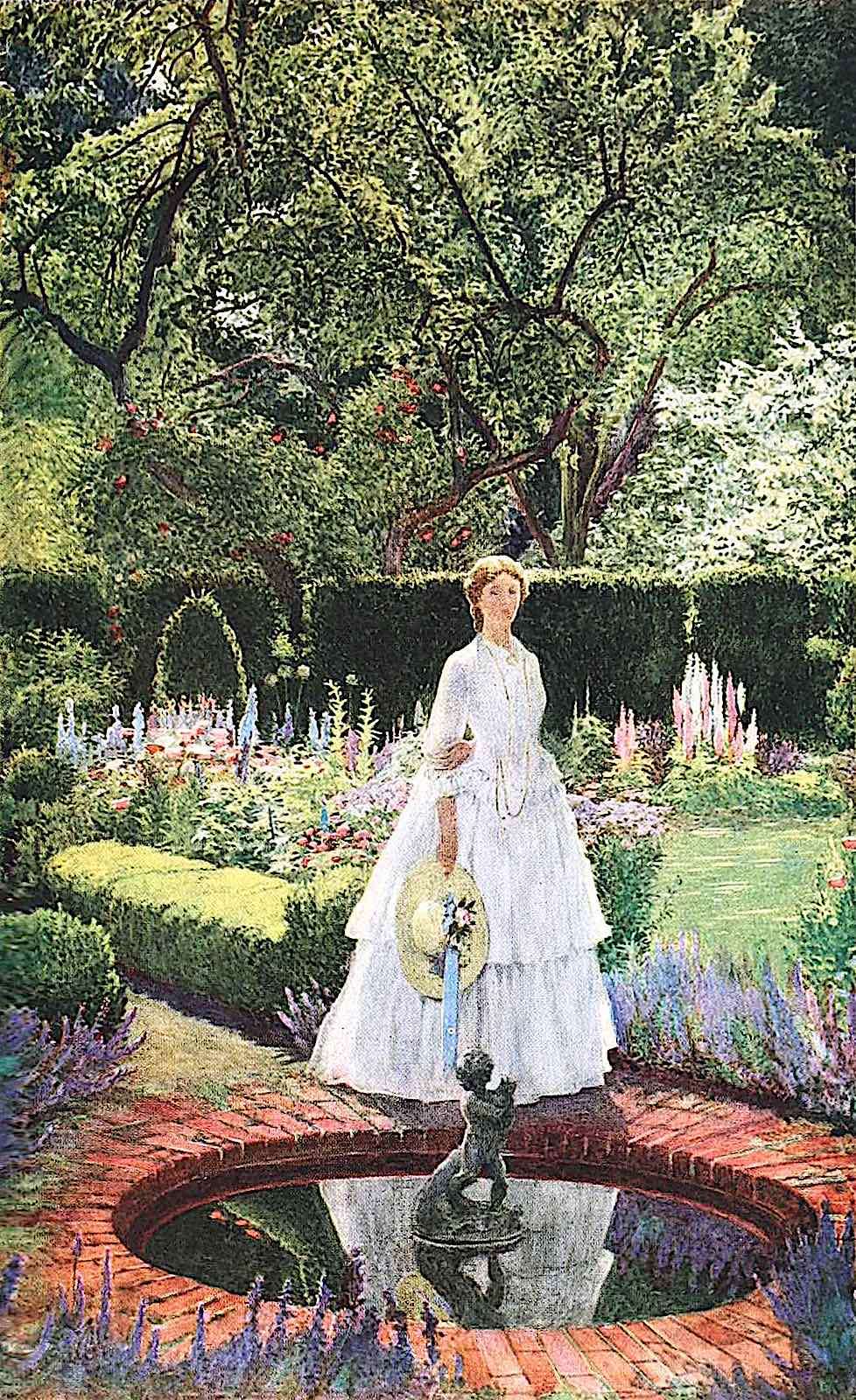 a 1919 Eleanor Fortesque Brickdale illustration of a woman standing by a brick pond in an English garden garden