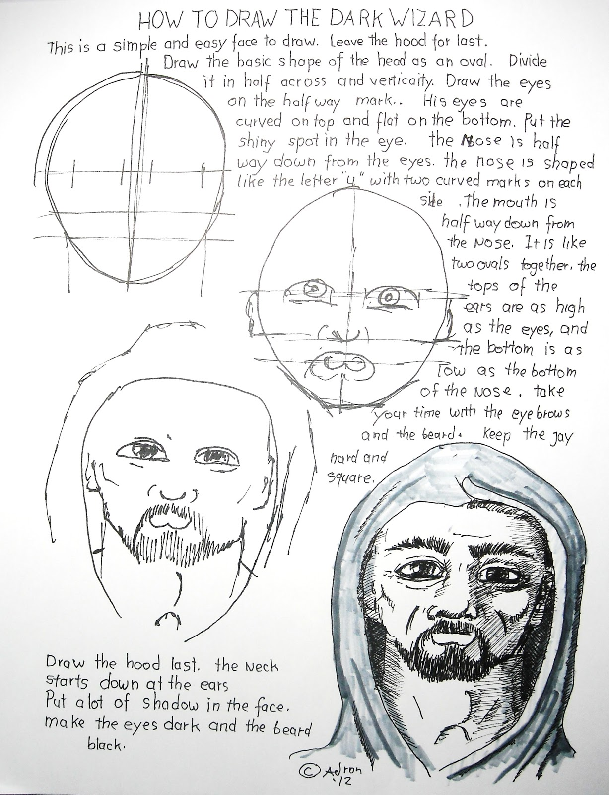 How To Draw Worksheets For The Young Artist How To Draw The Dark Wizard Drawing Lesson