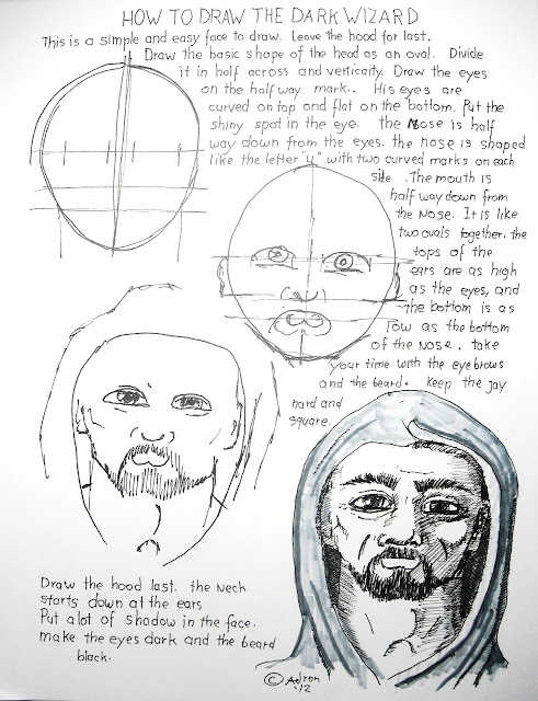 A worksheet on how to draw a face of a man wearing a hood.