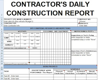 contractors daily report template excel civil engineering program. Black Bedroom Furniture Sets. Home Design Ideas