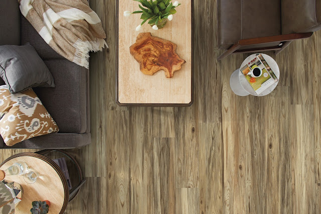 Beautiful wood-like flooring - no one would ever believe it's a type of vinyl.