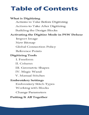 Digitizing with PSW Deluxe Table of Contents