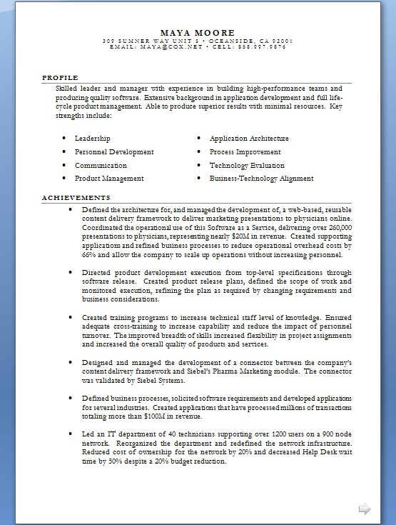 business technology alignment resume format in word free
