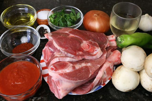Ingredientes para estofado de cordero con champiñones