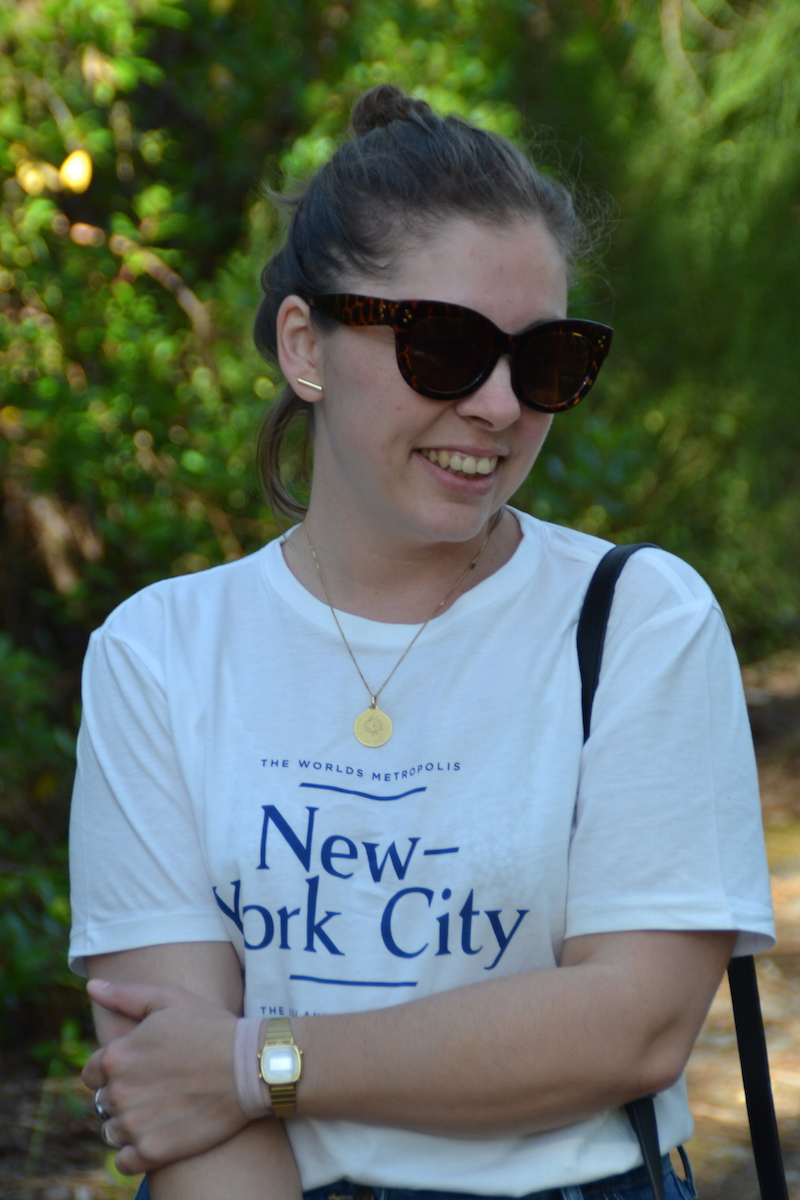 t-shirt New York H&M, lunette Aliexpress