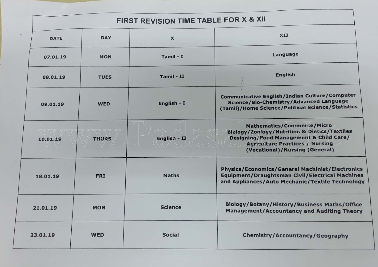 10th, 11th, 12th Standard - First Revision Test Time Table 2019