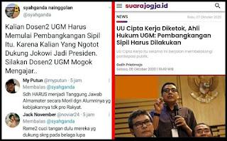 UGM Ajak Pembangkangan Sipil, KAMI: Kalian Duluan, Karena Kalian Yang Ngotot Dukung Jokowi
