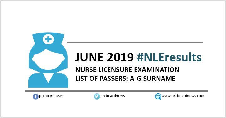 A-G Passers List: June 2019 NLE nursing board exam result