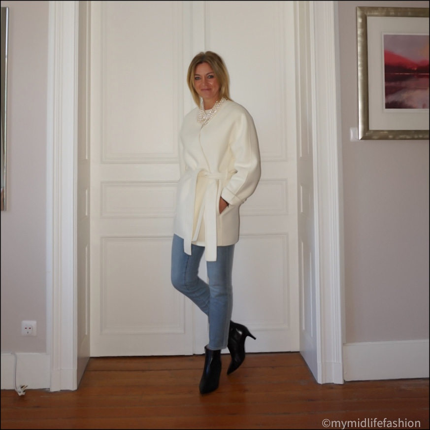 my midlife fashion, jigsaw double face wrap coat, pearl necklace, marks and Spencer pure cashmere round neck jumper, Ralph  Lauren straight leg cropped jeans, sole bliss Brooke leather ankle boots