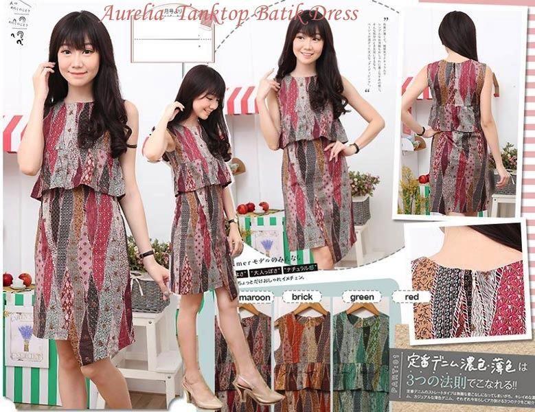 Jual Baju Batik Aurelia Tanktop Batik Dress - 12739