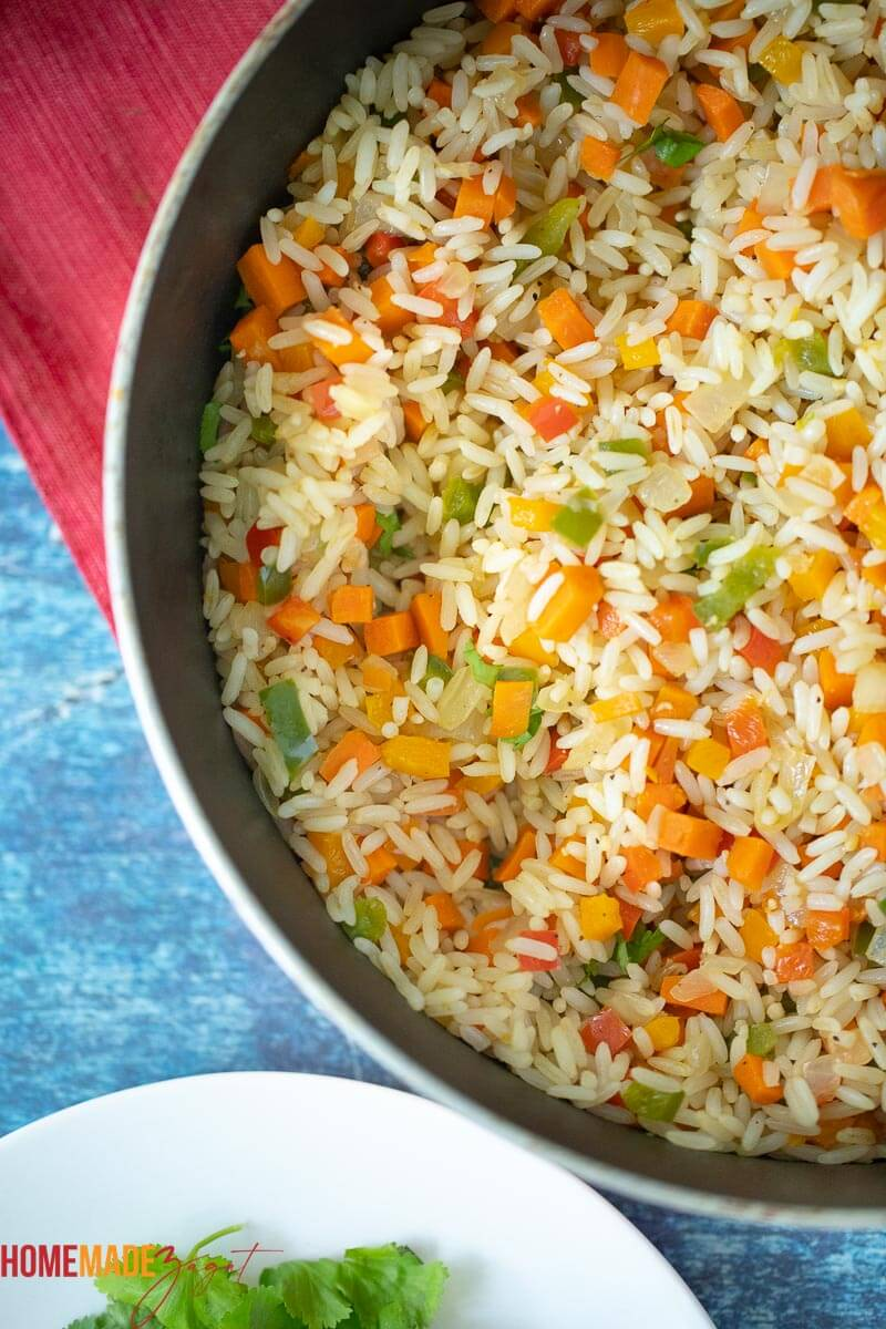 Birdseye view of calypso rice ready to be served.