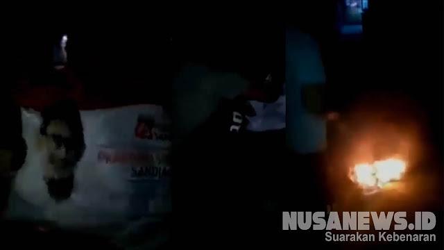 Viral, Atribut Kampanye Prabowo - Sandi di Jalan Dibakar