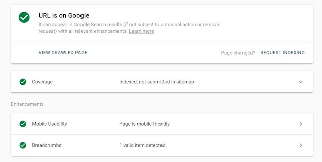 URL is on Google , indexed