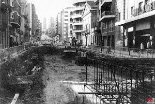 Inicio obras del metro en la Rambla Just Oliveras (1977)